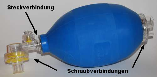 Beatmungsbeutel, Steck- und Schraubverbindungen